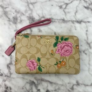 Coach Double Zip Wallet In Signature Canvas With Prairie Rose Print